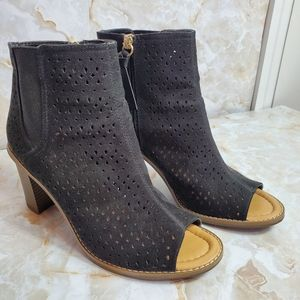 Dr Scholl's True Comfort Black Peep Toe Boots